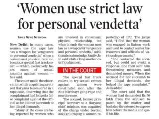 Women use strict law for personal vendetta